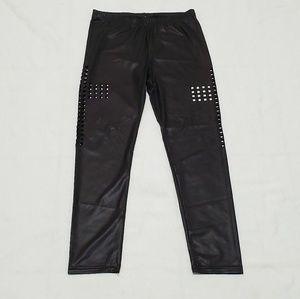 Cross Cut Out Leggings Pants Black Shine large
